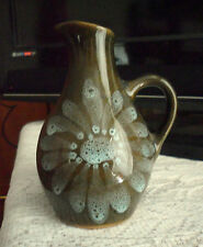 PRETTY STUDIO POTTERY JUG BROWNY GREEN WITH PALE BLUE DEC. 11.5 CM TALL . GOOD
