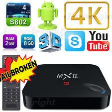 MX3 III Android4.4 Quad Core Smart TV Box 4K WIFI Media Player 2+8G