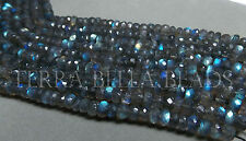 "13"" strand LABRADORITE faceted gem stone rondelle beads 6.5mm - 7mm blue green"