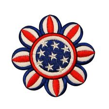 ID 1086Z Patriotic Flower Flag America USA Embroidered Iron On Applique Patch