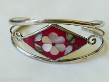 ALPACA MEXICO SILVER TONE RED COLORFUL MOTHER OF PEARL INLAY CUFF BRACELET