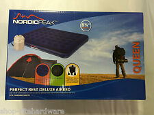 Nordic Peak Queen Ultra Plush Deluxe Flocked Air Bed Mattress Airbed Pump & Case