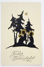 Beautiful Art Deco NATIVITY Silhouette Gold Star CHRISTMAS Postcard