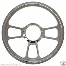 "14"" Chrome Aluminum steering wheel Chromed  T style GM chevy custom full billet"