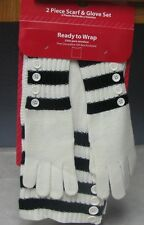 Woman's 2 Piece Black & White Scarf & Glove Gift Set NEW