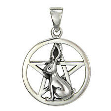 Sterling Silver Bunny Rabbit Pentacle Wiccan Pentagram Pendant Pagan Jewelry