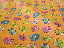 "5 Metres Orange ""Petals"" Floral Printed PolyCotton Fabric. MADE IN CANADA."