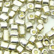 Free shipping Loose Charm 3-4MM 180pcs Glass Square spacer Beads sliver