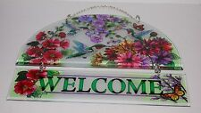 #5247 HUMMINGBIRD GARDEN HAND-PAINTED HOSPITALITY PANEL BEVELED GLASS DECOR