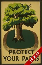 VINTAGE SAVE TREES PROTECT THE ENVIORNMENT NATURE POSTER RETRO WPA ART PRINT