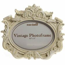 VINTAGE Cream FRENCH PHOTO PICTURE FRAME SHABBY OVAL CHIC LANDSCAPE Gift 5 x 3.5