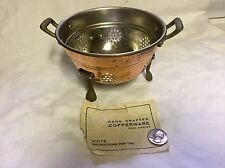 """Small Copper Colander Tinned Interior Brass Feet & Handles 6"""" Wide By 4"""" Tall"""