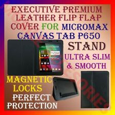 ACM-EXECUTIVE LEATHER FLIP FLAP CASE for MICROMAX CANVAS TAB P650 COVER STAND