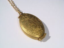 Vintage Brass LOCKET Necklace Folding Foldable Multi Photo Chain Xmas Gift IMD