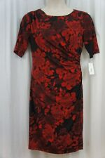 Connected Apparel Dress Petite Sz 12P Red Black Floral Jersey Career Cocktail