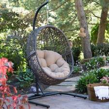 Outdoor Hanging Egg Chair Patio Porch Furniture Resin Wicker w/ Cushion & Stand