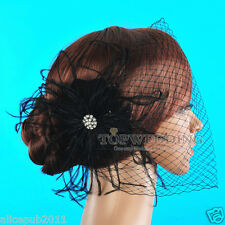 Black Feather Flower Rhinestone Bridal Birdcage Veil Wedding Blusher Fascinator