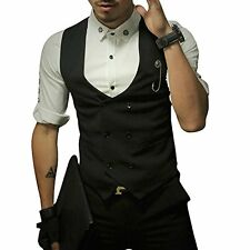 Mens Vest Fashion Slim Fit Double-breasted Solid Unisex Vest
