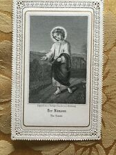 Antique German The Sower Girl Lacy Religious Holy Mass Card