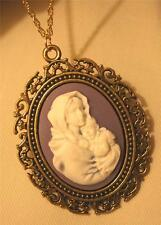 Lovely Lacy Swirled Rim Violet White Mary Madonna Christ Child Pendant Necklace