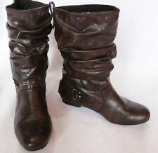 Ladies River Island low heel winter slouch ankle boots brown fur trim  size 3