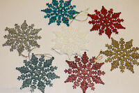 *6 SNOWFLAKES* CHRISTMAS TREE DECORATIONS DECORATION BAUBLES GLITTER HANG XMAS