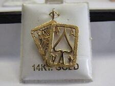 14k Yellow Gold Cards pendant 3.3g Gambler Ace of Spades Jack of Diamonds Vegas