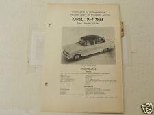 O36--OPEL KAPITAN KAPTEIN 1954-1955 2,5 LITER ,TECHNICAL INFO CAR VINTAGE