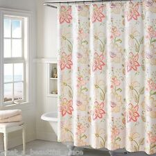Soft Spring Floral Fabric Shower Curtain French Country Pink Purple Green Yellow