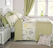 MEADOW BUTTERFLY SUPER KING FLORAL GREEN REVERSIBLE DUVET COVER #EUQINATOB *CUR*