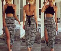 Sexy Women Ladies Halrter Tops + Striped Pencil High Waist Open Skirt Long Dress