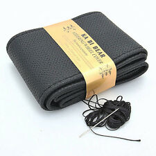 DIY Cool Black Leather Car Auto Steering Wheel Cover With Needles and Thread