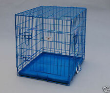 "BestPet 24"" Blue Pet Folding Dog Crate Cage Kennel W/Metal Pan New"