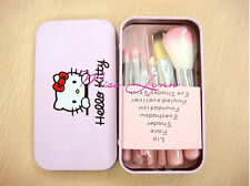 7pcs/sets Professional Pink Hello kitty Makeup brush suit Cute cartoon box Free