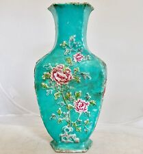 "10.4"" Antique Chinese Turquoise Porcelain Hexagon Vase with High Relief Flowers"