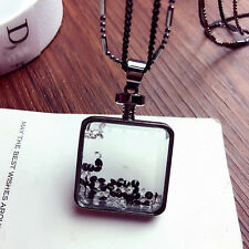 New Fashion Charm Crystal Perfume Bottle Pendant Black Chain Necklace Jewelry