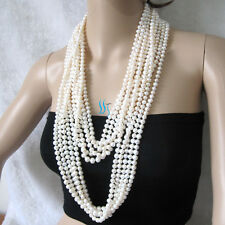 "5 Strands 64"" 6-8mm white freshwater pearl necklaces Wholesale Jewelry U"