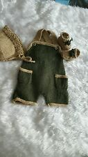 Hand knitted baby dungarees  set