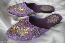 Lilac sequin trim satin flat mules sandals slip on slippers Uk size 5