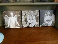 Set of 3 Square Box Canvas Prints of Angels - Gothic Cemetery Art