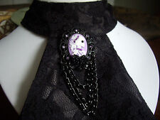Gothic Skeleton Cameo Purple Black Brooch Badge Cravat Jabot Tie Pin