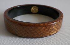 Designer Victoria Marin Brown Copper Snakeskin Leather Encased Bangle Bracelet