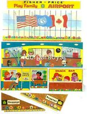 VTG FISHER-PRICE Little People #996 AIRPORT REPLACEMENT LITHOS  DECALS STICKERS