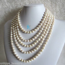 "100"" 8-10mm White Freshwater Pearl Necklace Off Round Strand Jewelry"
