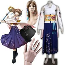 Cafiona Final Fantasy Yuna Cosplay Costume Sexy Bikini Pleated Skirt Any Size