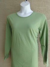 New Woman Within Plus Sizes L/S Cotton Crew Neck Tee Top L 18-20 W Sage