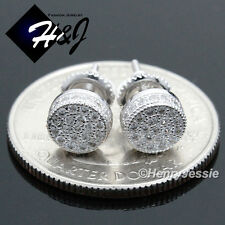 925 STERLING SILVER 6MM LAB DIAMOND ICED BLING ROUND SCREW BACK STUD EARRING*E67
