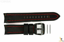 Luminox 5127 SXC GMT 24mm Black Leather Watch Band Red Stitches w/ 2 Pins