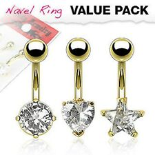 3Pcs Round, Heart, Star Shape Clear CZ Prong Set Gold Plated Navel Belly Rings