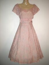 VINTAGE 50'S STYLE PINK/PEACH LACE ROCKABILLY SWING EVENING PARTY DRESS SIZE 10